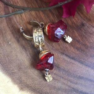 Robert Rose Faux Raw Garnet/Ruby Gem 💎 Earrings